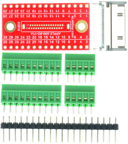 Apple 30-pin male Connector breakout board components
