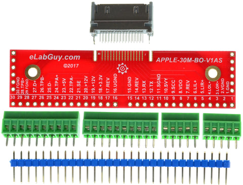 APPLE-30M-V1AS Apple 30-pin Male Plug breakout board (side)