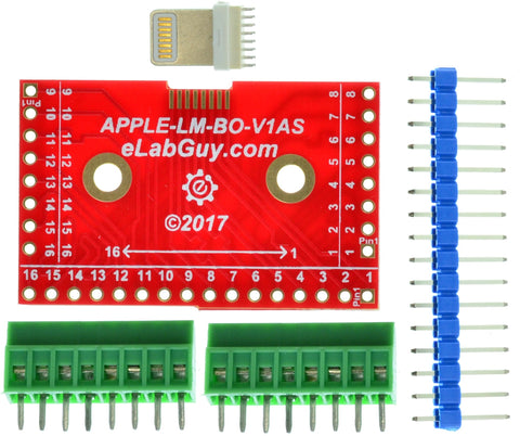 APPLE-LM-BO-V1AS Apple Lightning Male connector breakout board (Side)