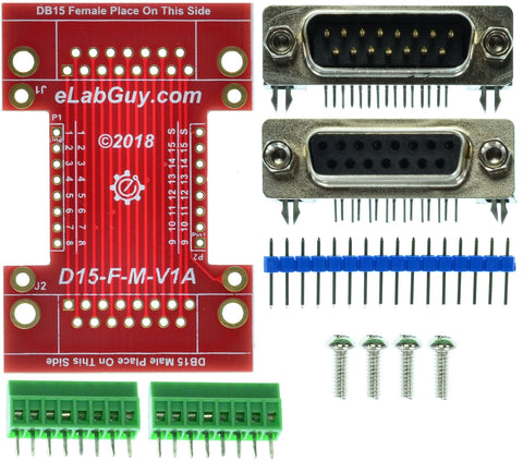D15-F-M-V1A DB15 Female to DB15 Male pass-through adapter breakout