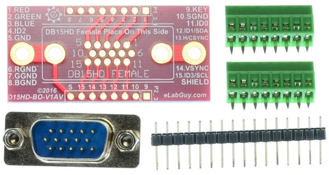 B15HD VGA Female connector breakout board components