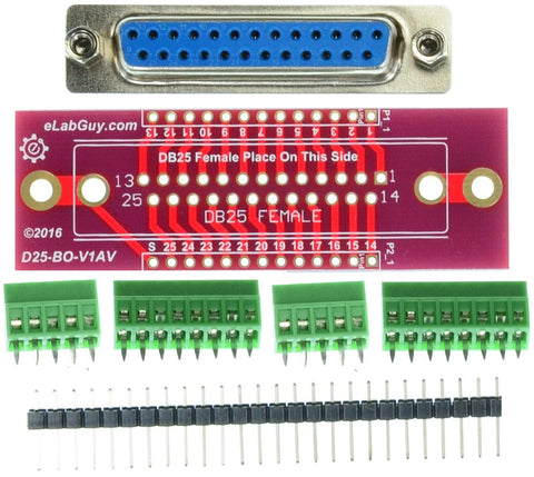 DB25 male connector printer port breakout board components