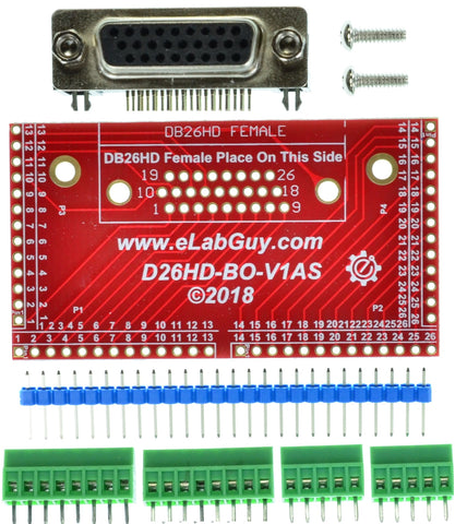 D26HD-F-BO-V1AS DB26HD Female connector breakout board eLabGuy
