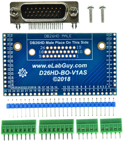 D26HD-M-BO-V1AS DB26HD Male connector breakout board eLabGuy