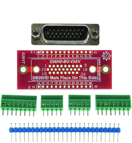 D26HD-M-BO-V2AV DB26 HD Male Breakout Board eLabGuy Vertical