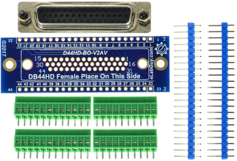 D44HD-F-BO-V2AV DB44 HD Female Breakout Board eLabGuy vertical