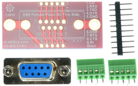 DB9 Female connector breakout board components