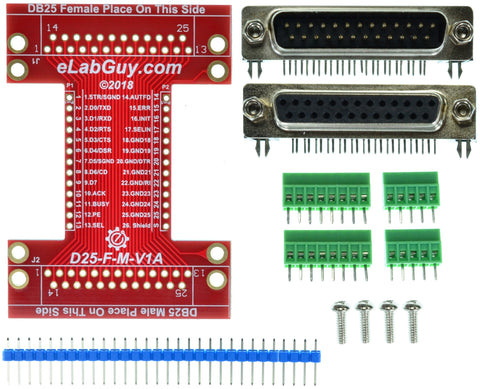 D25-F-M-V1A DB25 Printer Port Female to Male pass-through adapter breakout board