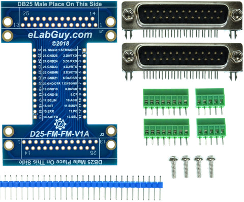 D25-M-M-V1A DB25 Printer Port Male to Male pass-through adapter breakout board