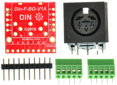 Din 6 Female connector breakout board components