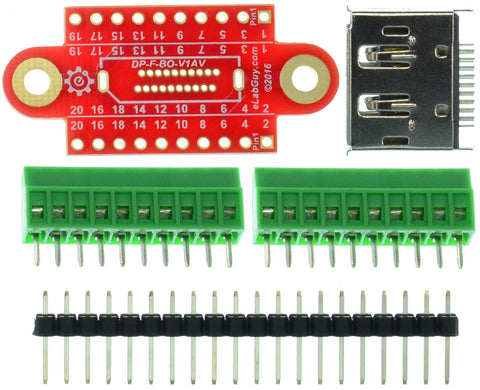 Displayport Female connector breakout board components
