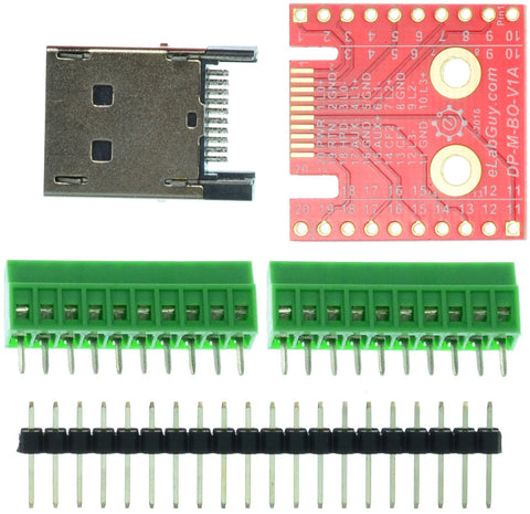 Displayport male connector breakout board components