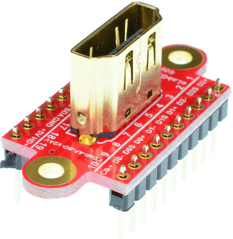 HDMI Type A Female connector breakout board headers