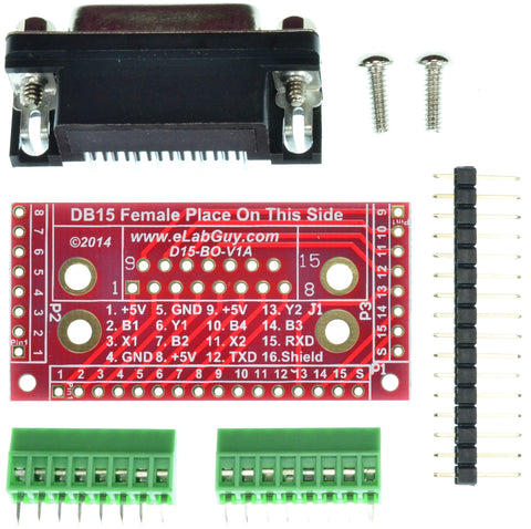 D15-F-BO-V1AS DB15 Female Breakout Board D-Sub 15pin eLabGuy