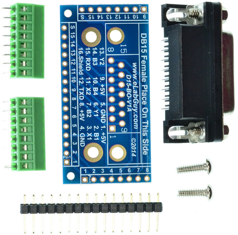 DB15 Male connector breakout board components