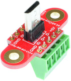 Micro USB2.0 Type B Male Plug connector breakout board screw terminal blocks