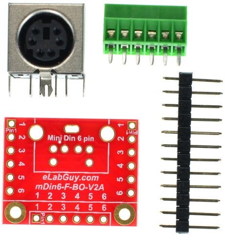 mini Din 6 Female connector breakout board components