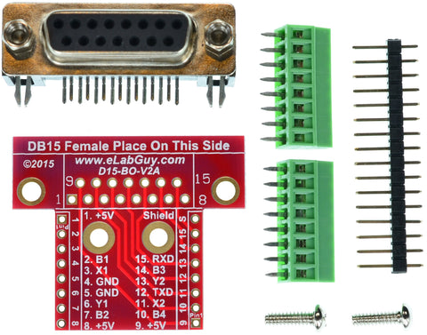 DB15 Female connector breakout board components