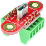 Micro USB2.0 Type B Female connector breakout board screw terminal blocks