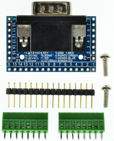 DB15HD VGA connector breakout board components