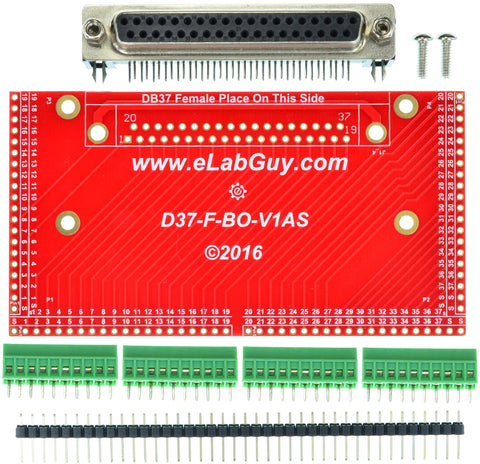 DB37 female connector breakout board components