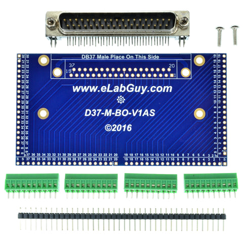 DB37 male connector breakout board components