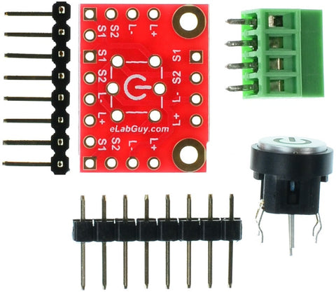Blue color LED tactile switch breakout board components
