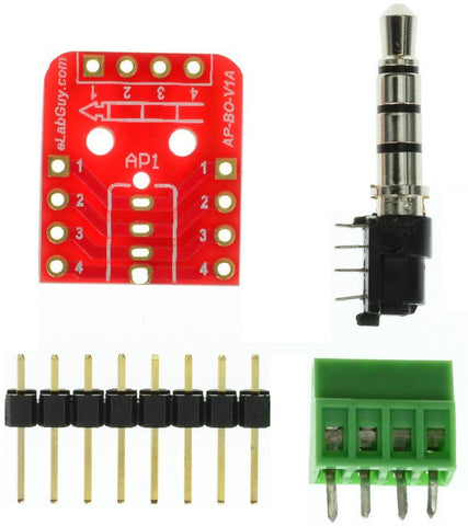 3.5mm 4pins stereo audio plug breakout board components