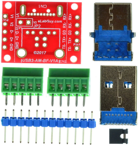 USB3-AM-BF-V1A, USB 3.0 Type A Male to USB3.0 Type B Female pass through adapter breakout board
