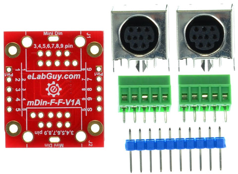 mDIN9-F-F-V1A, Mini Din 9 Female to Female pass-through adapter breakout board, elabGuy