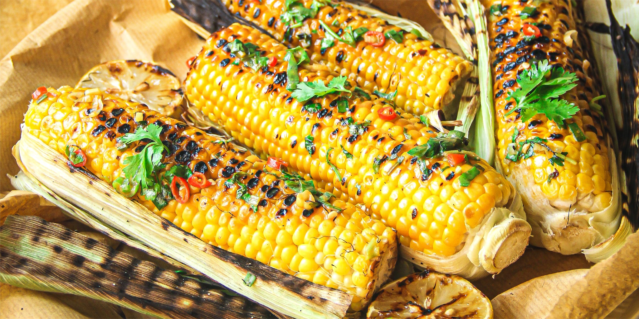 Braaied Corn On The Cob with Jalapeño Chilli and Herb Butter Rub