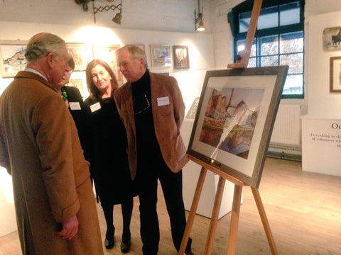 Geoffrey Wynne RI presenting H.R.H The Prince of Wales with the iconic painting of Middleport Pottery