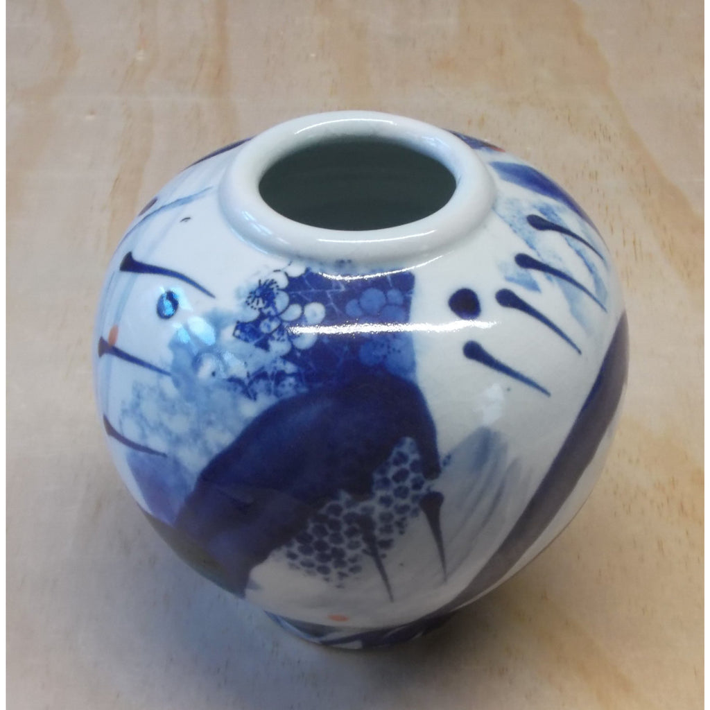 Blue and White Porcelain Ceramic Round Form Vases by Andrew Matheson RBSA
