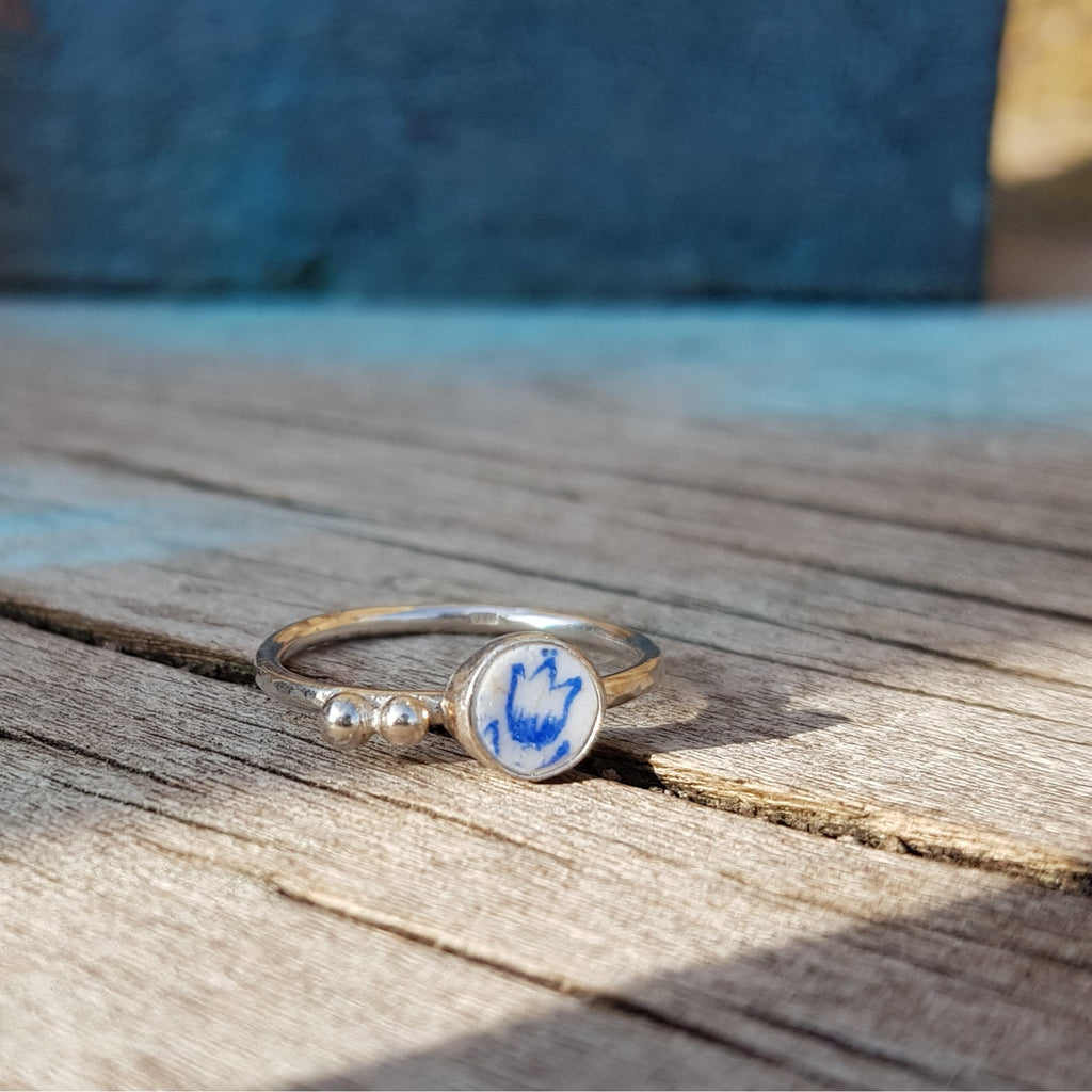 R196 I'm a Little Tulip Pottery Shard Silver Stacking Ring by Unearthed