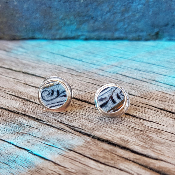 E366 Oxford Border Ceramic Shard Silver Earrings by Unearthed