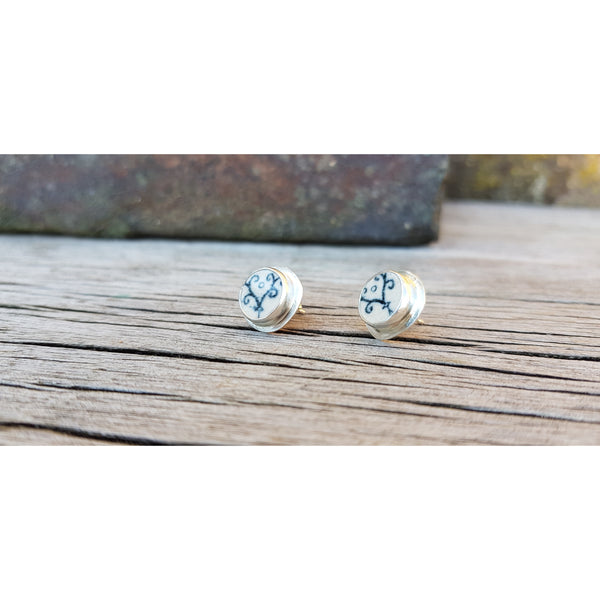 E365 Oxford Scroll Pottery Ceramic Shard Silver Stud Earrings by Unearthed