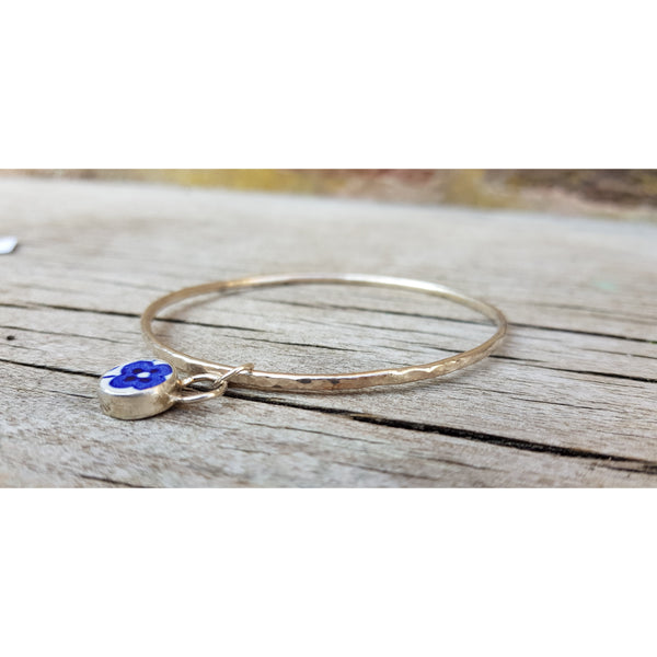C09 Blue Bird Flower Shard Silver Bangle Bracelet by Unearthed