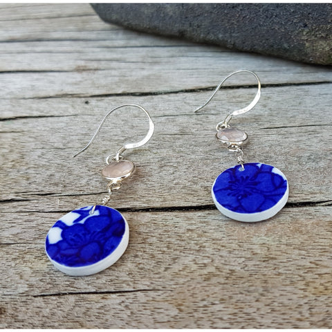 E208 Blue Hawthorne Ceramic Shard Silver Drop Earrings by Unearthed