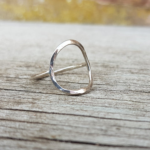 R64 Medium Circle Open Hammered Silver Ring by Unearthed