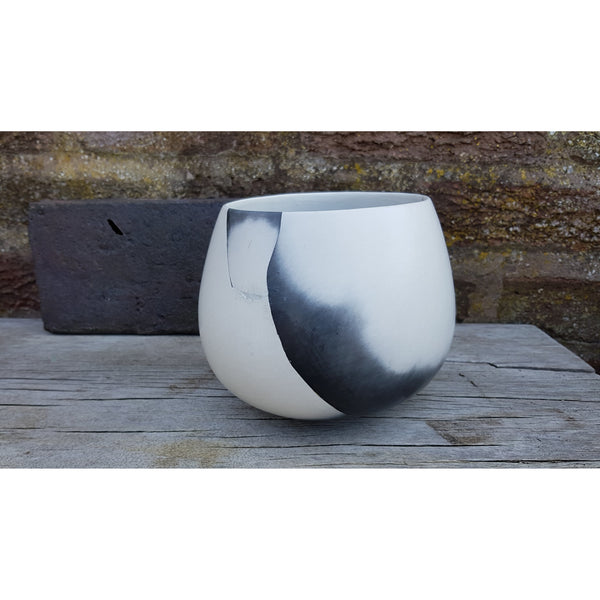 JR15 Black and White reconstructed Bowl Pot by June Ridgway