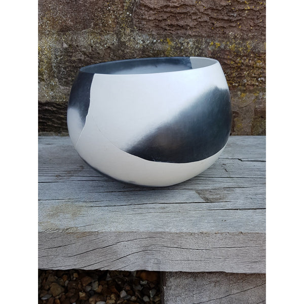 JR16 Black and White reconstructed Bowl Pot by June Ridgway