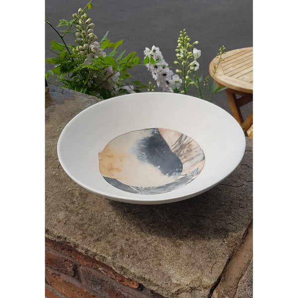 JR14 Round open reconstructed shallow bowl by June Ridgway