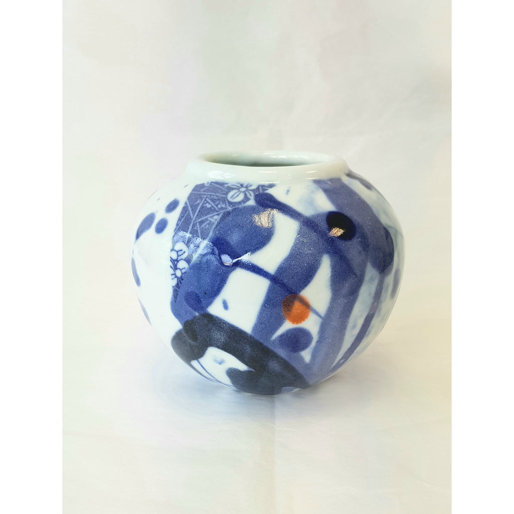Blue and White Porcelain Round Pot by Andrew Matheson RBSA