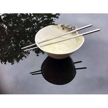 Thrown stoneware noodle bowl with stainless steel chopsticks by Lorraine Bates
