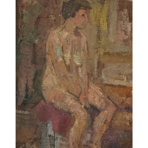 EN06Oil Nude Seated c1950s by Enos Lovatt