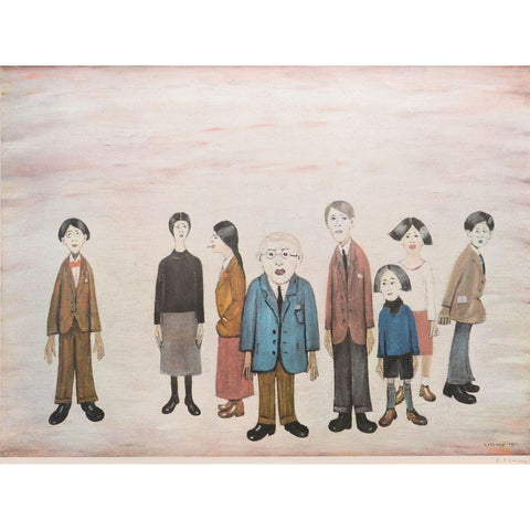 His Family Signed Print by L S Lowry