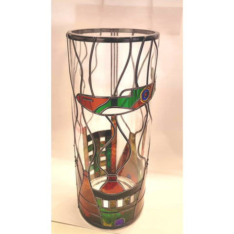 Spitfire flying over Bottle Kilns Vase by Hedgeberry Glass