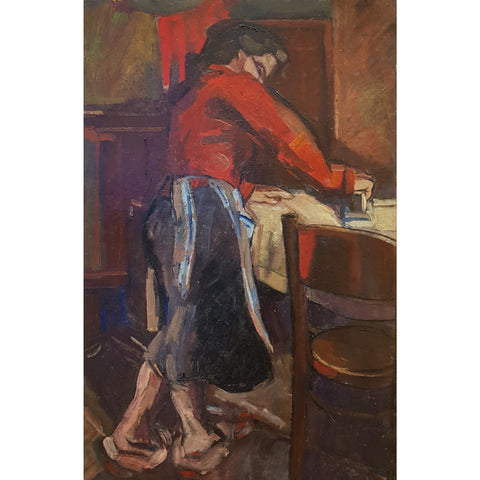 EN03Oil Woman Ironing c1950s by Enos Lovatt