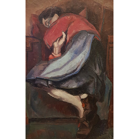 EN04Oil Woman Sleeping c1950s by Enos Lovatt