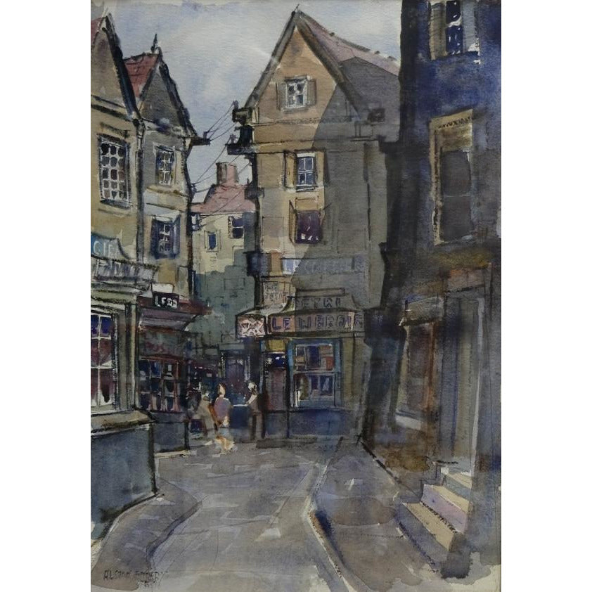 A Corner of Boulogne 1954 Watercolour by Alston Emery | Original Art by Alston Emery | Barewall Art Gallery